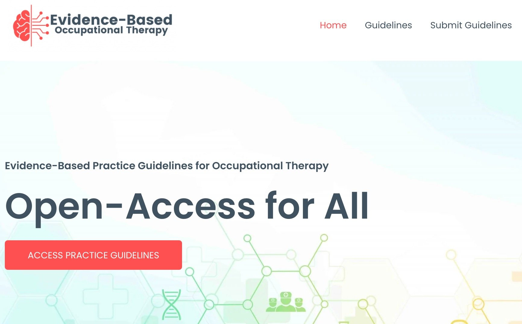 Evidence Based Occupational Therapy Website Screenshot