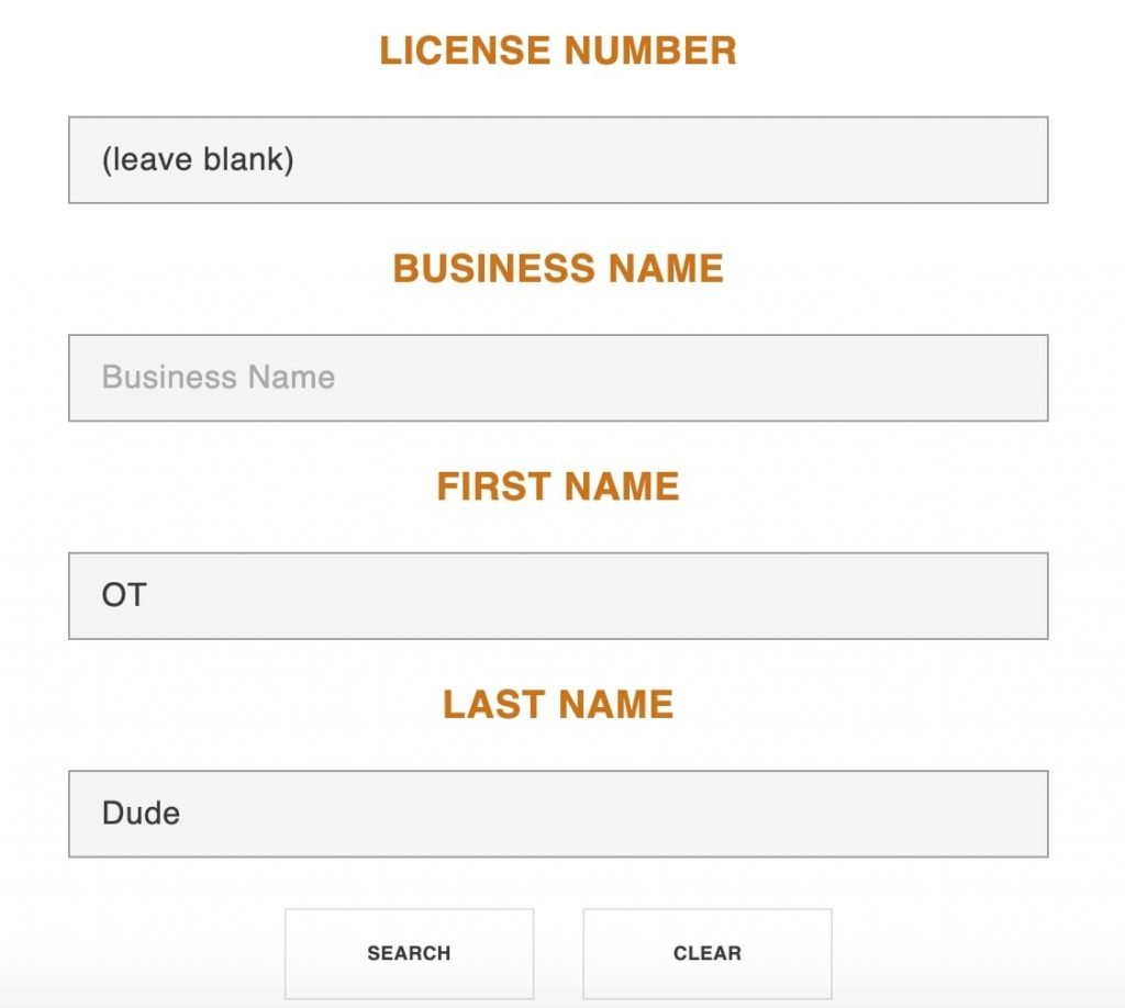 california license lookup by name for nbcot passing